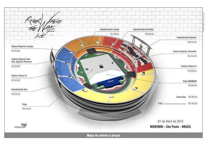 Mapa de Setores Roger Waters - Morumbi - 01 de abril